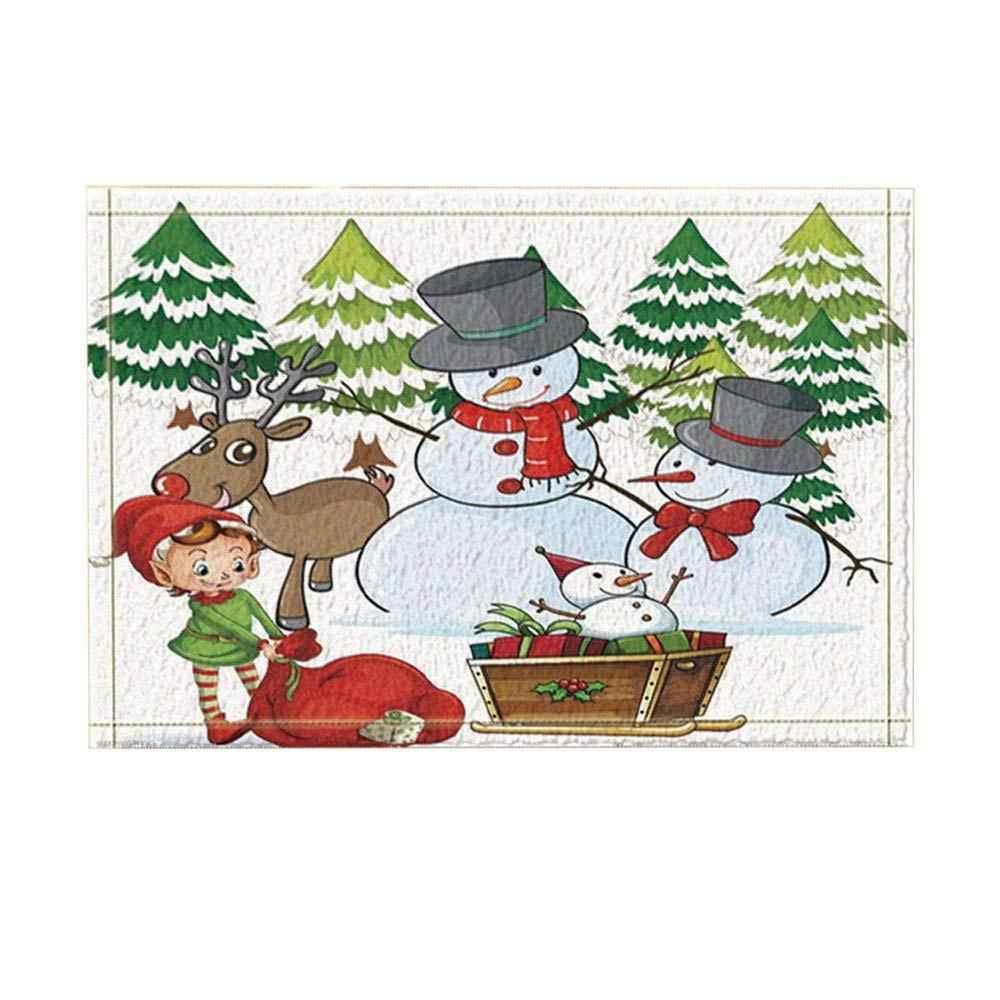 Giáng sinh Trang Trí Nội Thất Kid Người Tuyết, Tuần Lộc Thông Sled Không-Trượt Chùi Chân Sàn Trong Nhà Phía Trước Cửa Mat Trẻ Em Tắm Mat