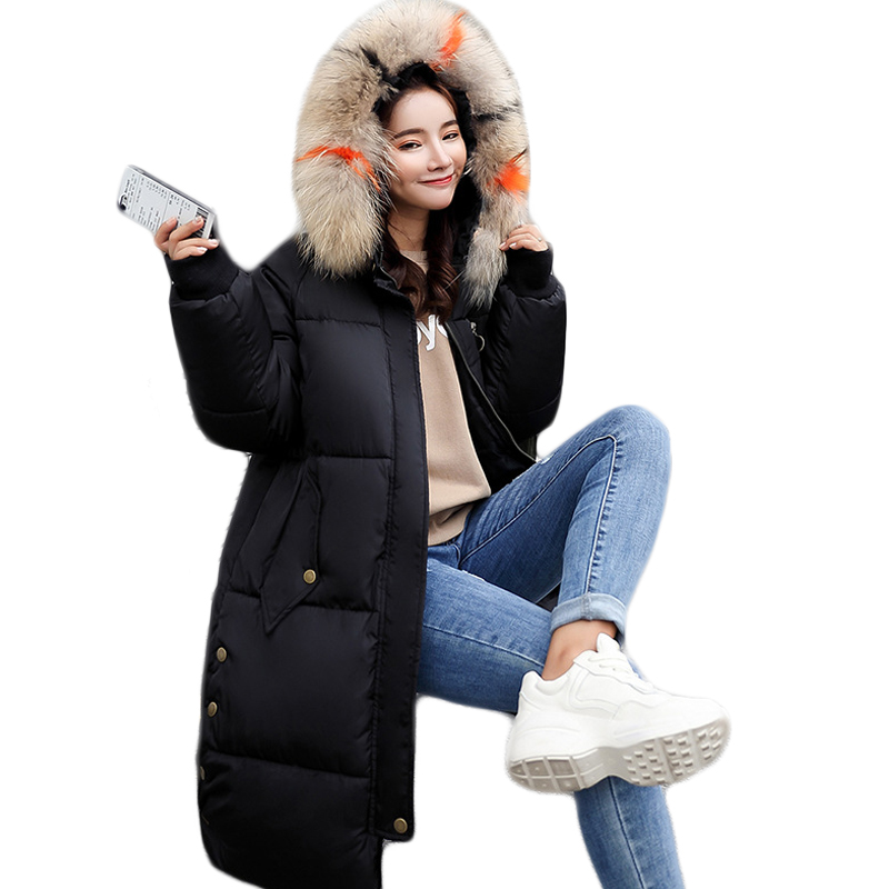 Warm Hooded Fur Collar Cotton Long   Parka   Plus Size Women Winter Jacket 2018 Clothing For Mujer Feminine De Inverno Casaco CM950