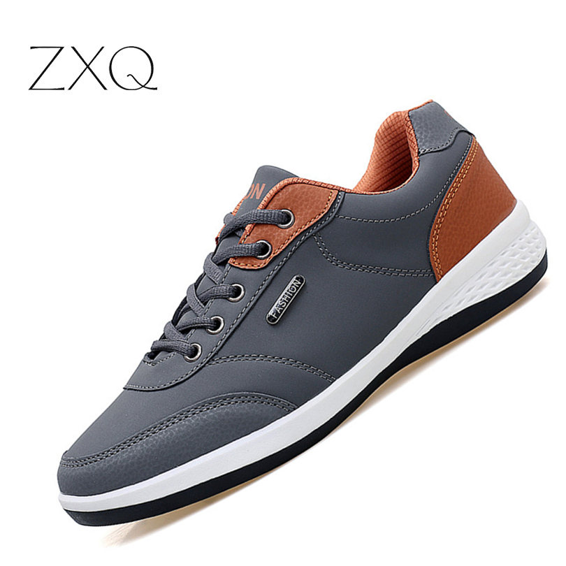 New 2018 Spring Men Leather Sneakers Lace Up Mixed Color Leisure Casual Shoes Comfortable Men Footwear 3 Colors