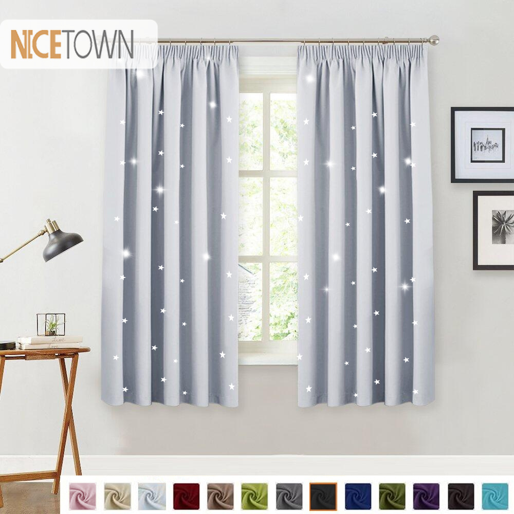 Us 13 99 30 Off 1 Piece 100 Polyester Star Cutout Blackout Pencil Pleat Curtain Nursery Sweet Window Drapery For Kitchen Decor Kid S Room In