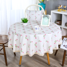 Cotton Linen Table Cloth For Living Room Decorate  Waterproof Oil-proof Tablecloth Round Cover