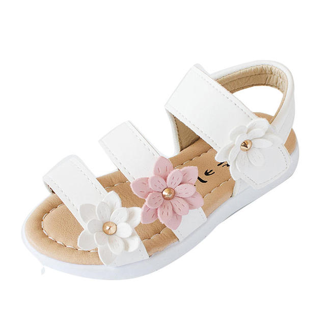 Summer Kids Children Girls Sandals Fashion Big Flower Girls Flat Princess  Shoes Soft Fashion Beautiful Cute Ecxellent Quality P5 ab4bef9ad398