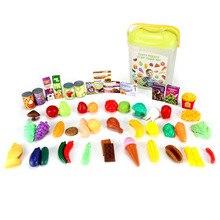 Hot Sale 60pcs Cutting Fruits Vegetables Kids Tasty Food Kitchen Set Toy Plastic Pretend Play House