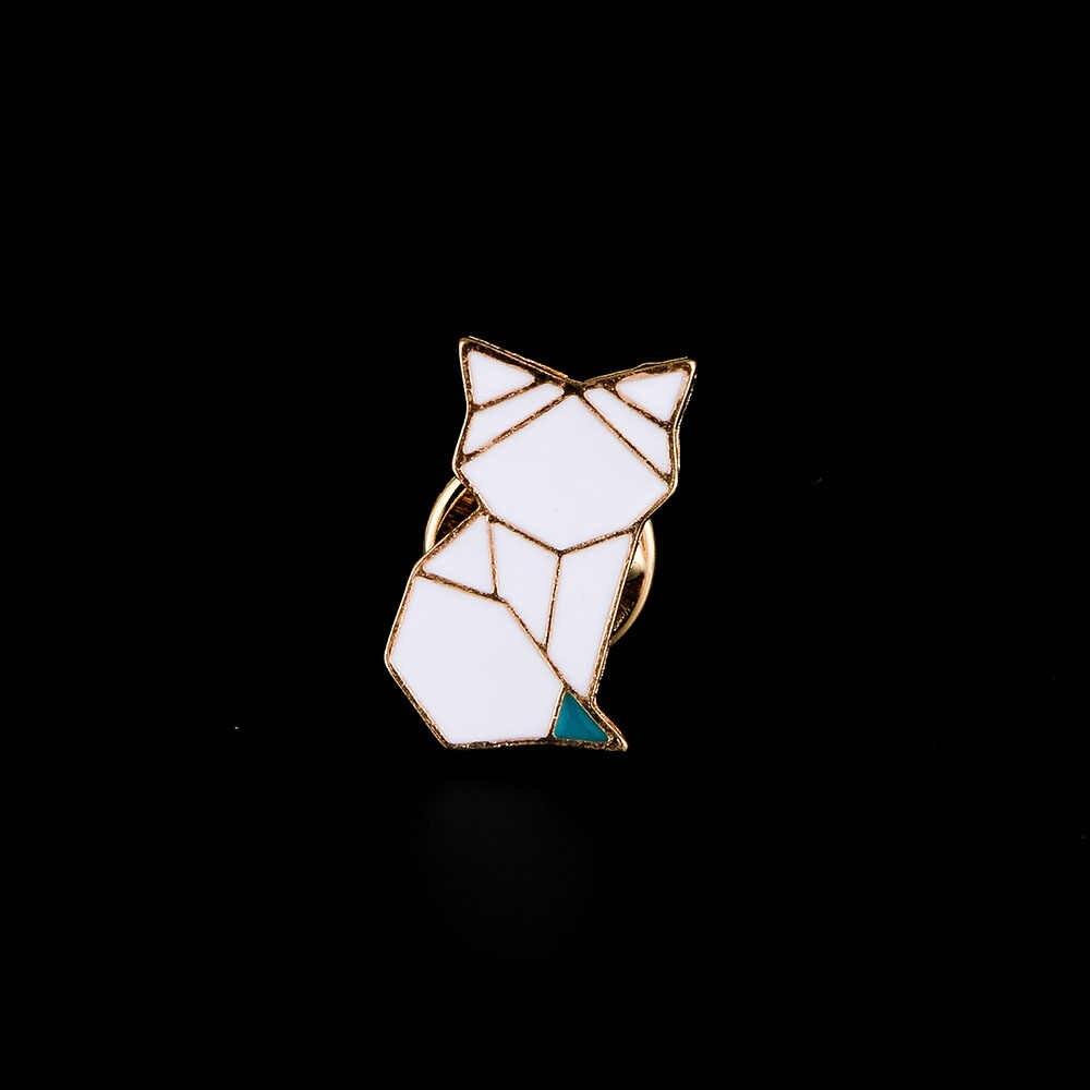 Cute Bunny Owl Fox Swan Origami Animale Smalto Spille Spilli Distintivo Hijab Spille Per Le Donne Delle Ragazze di Abbigliamento Per Bambini Accessori