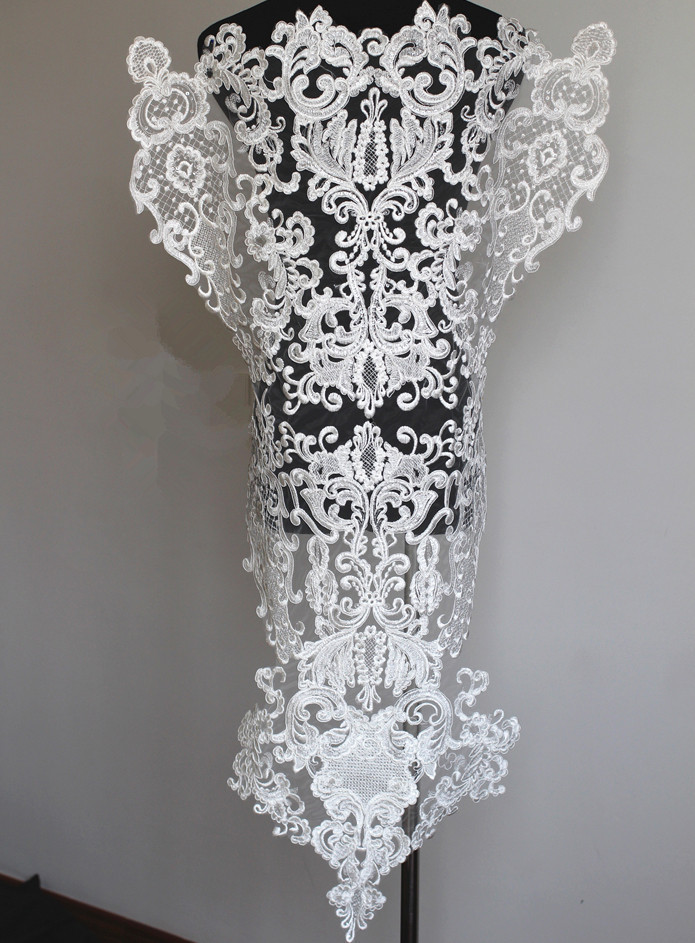 Vintage Large Ivory Sequins Lace Applique With Corded Embroidery Bridal Wedding Lace Applique DIY Sewing Craft 1pcs