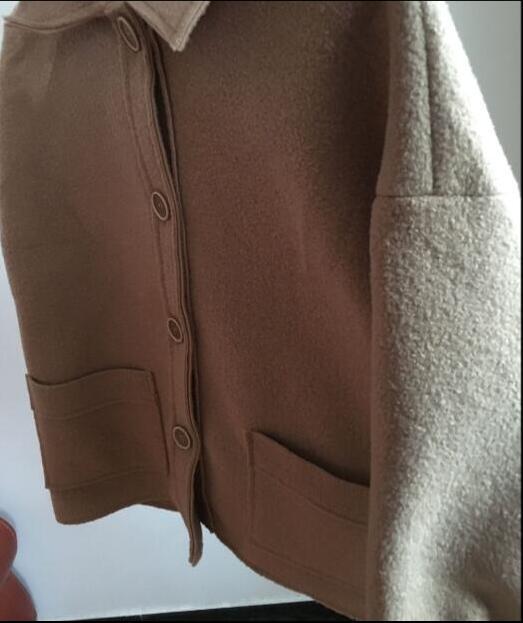 Femmes Couleur Qualité Kaki Unique Vestes Manteaux Régulière Laine Poitrine Hiver Haute Poche 2018 De 6qnwOtU5x7
