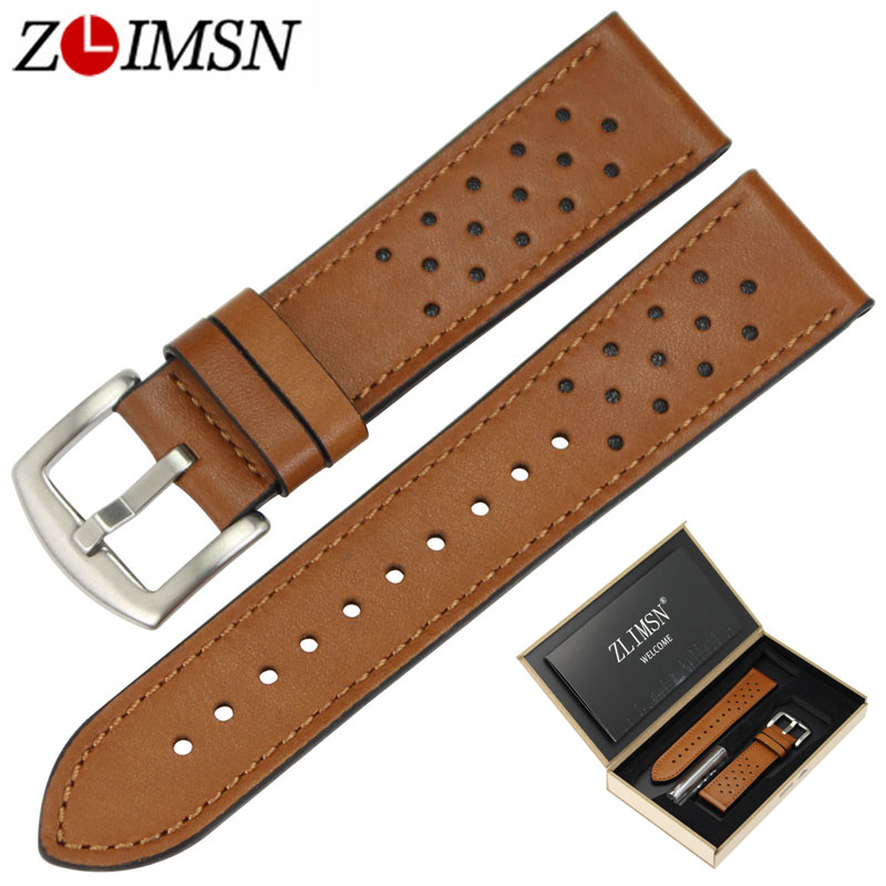 ZLIMSN 22mm Watch Strap Brown Genuine Leather Watchbands Replacement with Black Silver 316L Stainless Steel Buckle suunto core brushed steel brown leather