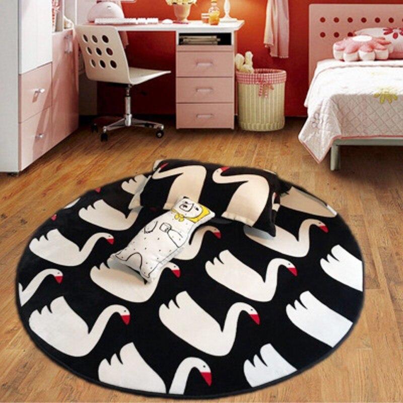 Style coréen cygne tapis bébé ramper maison tapis doux velours de soie ronde baie fenêtre Yoga tapis de chevet tapis extérieur