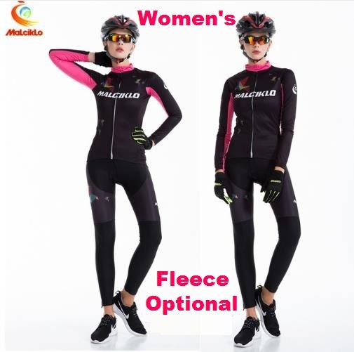 Female Long Sleeve Sports Bike Jersey Womens  Cycling Jerseys Winter Fleece  Bicycle Racing Clothings Racing Dress QM17LTW1 238150b15b9e