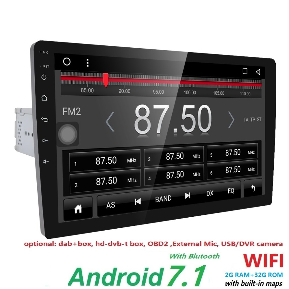 Free Shipping 2GB RAM 32G ROM Single 1 Din 10 Inch Full Touch Screen Android 7