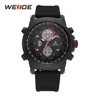 WEIDE Men Digital Black And Red Backlight Date Day Alarm Sport Stopwatch Quartz Watches Silicone Band
