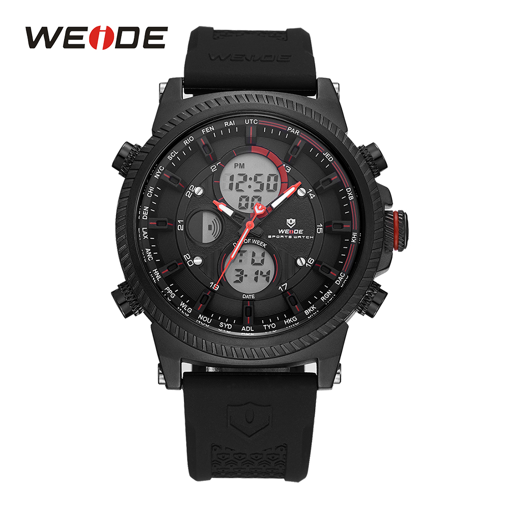 WEIDE Mens Digital Black And Red Backlight Date Day Alarm Sport Stopwatch Quartz Watches Silicone Band Buckle Hardlex Wristwatch weide mens black sports stopwatch quartz digital watch date day alarm silicone band buckle man wristwatches relojes para hombres page 4