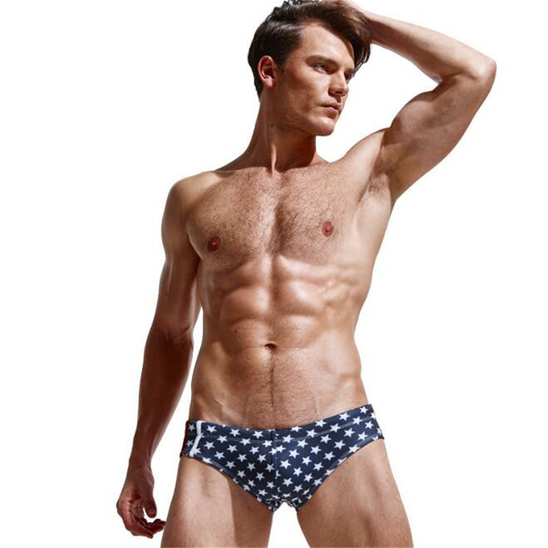 Topdudes.com - Men's High Quality Fashion Star Print Beach Sexy Low Waist Briefs