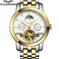 Люксовый Бренд GUANQIN Tourbillon Часы Мужчины Водонепроницаемый Скелет 8 Стильная Мода Автоматические Self-Wind Часы Золотые Часы