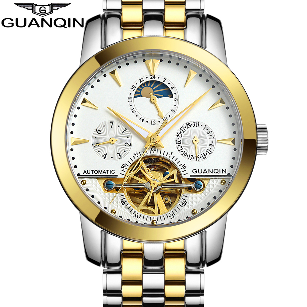 Luxury Brand GUANQIN Tourbillon Watches Men Waterproof Skeleton 8 Stylish Fashion Automatic Self-Wind Watches Gold Clock ailang brand men automatic self wind watches leather skeleton tourbillon mechanical clock male rose gold shell watch new