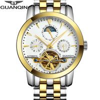 Luxury Brand GUANQIN Tourbillon Watches Men Waterproof Skeleton 8 Stylish Fashion Automatic Self Wind Watches Gold Clock