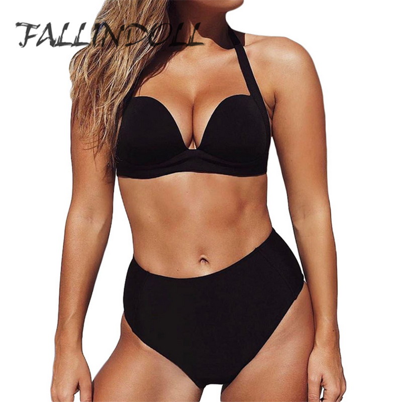 Push Up High Waist Bikini Set 2018 Women Summer Beachwear Sexy Swimsuit For Female Halter Top Bathing Suit Biquini FALLINDOLL in Bikinis Set from Sports Entertainment