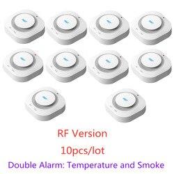 433 mhz sem fio de proteção contra incêndios temperatura temperatura e fumaça dupla alarme detector sensores para rf gsm sistemas alarme segurança em casa