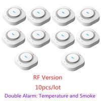 433MHz Drahtlose Feuer Schutz Temperatur und Rauch Doppel alarm Detektor Alarm Sensoren Für RF GSM home security Alarm Systeme