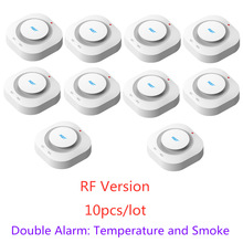 цена на 433MHz Wireless Fire Protection Temperature and Smoke Double alarm Detector Alarm Sensors For RF GSM home security Alarm Systems