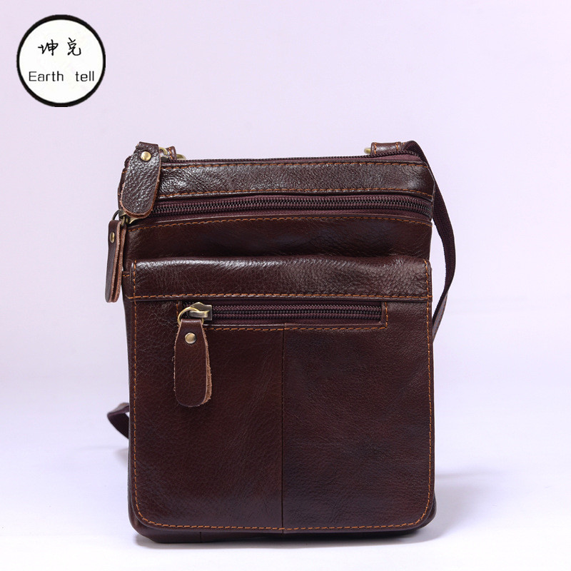 Earth tell Vintage Genuine Leather Man Piping Design Crossbody Shoulder Bag Small Business Male Woman Messenger Bags Handbag