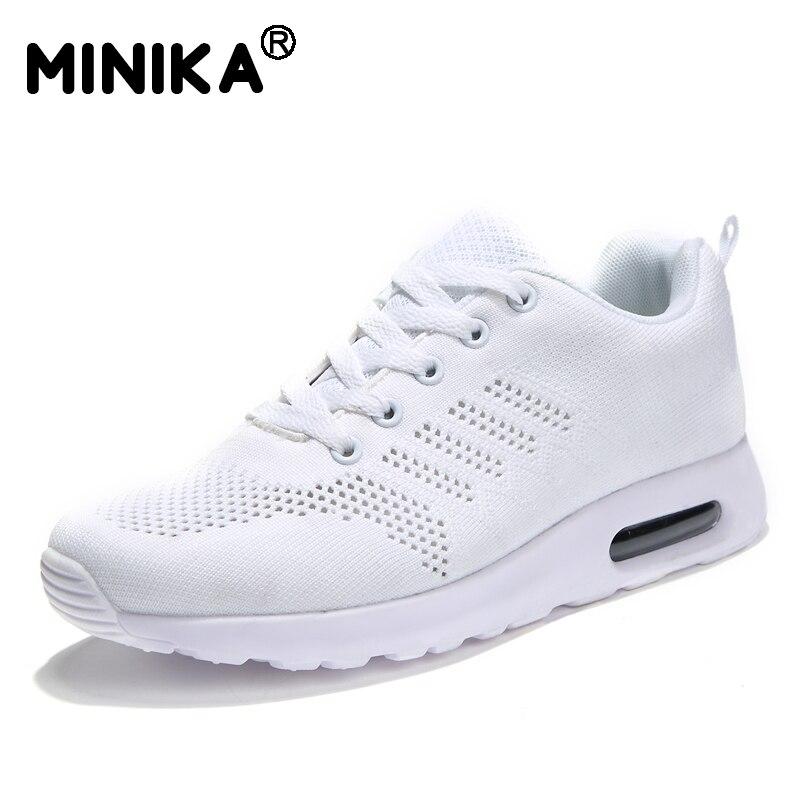a2ea67aa2 Minika Moda Mulheres Sapatos Tenis Feminino Plataforma Senhoras Estrela  Ocasional Ao Ar Livre para Caminhadas Sapatos Lace Up Flats Chaussure Femme  em de no ...