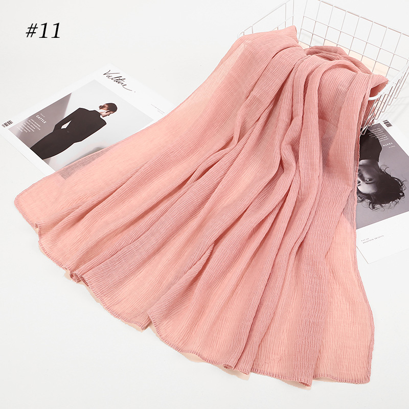 Image 5 - crinkle shawl fashion muslim hijabs women maxi scarf NEW Skin  pleated hijab scarf plain shawls islamic scarfs 20 color hot  saleWomens Scarves
