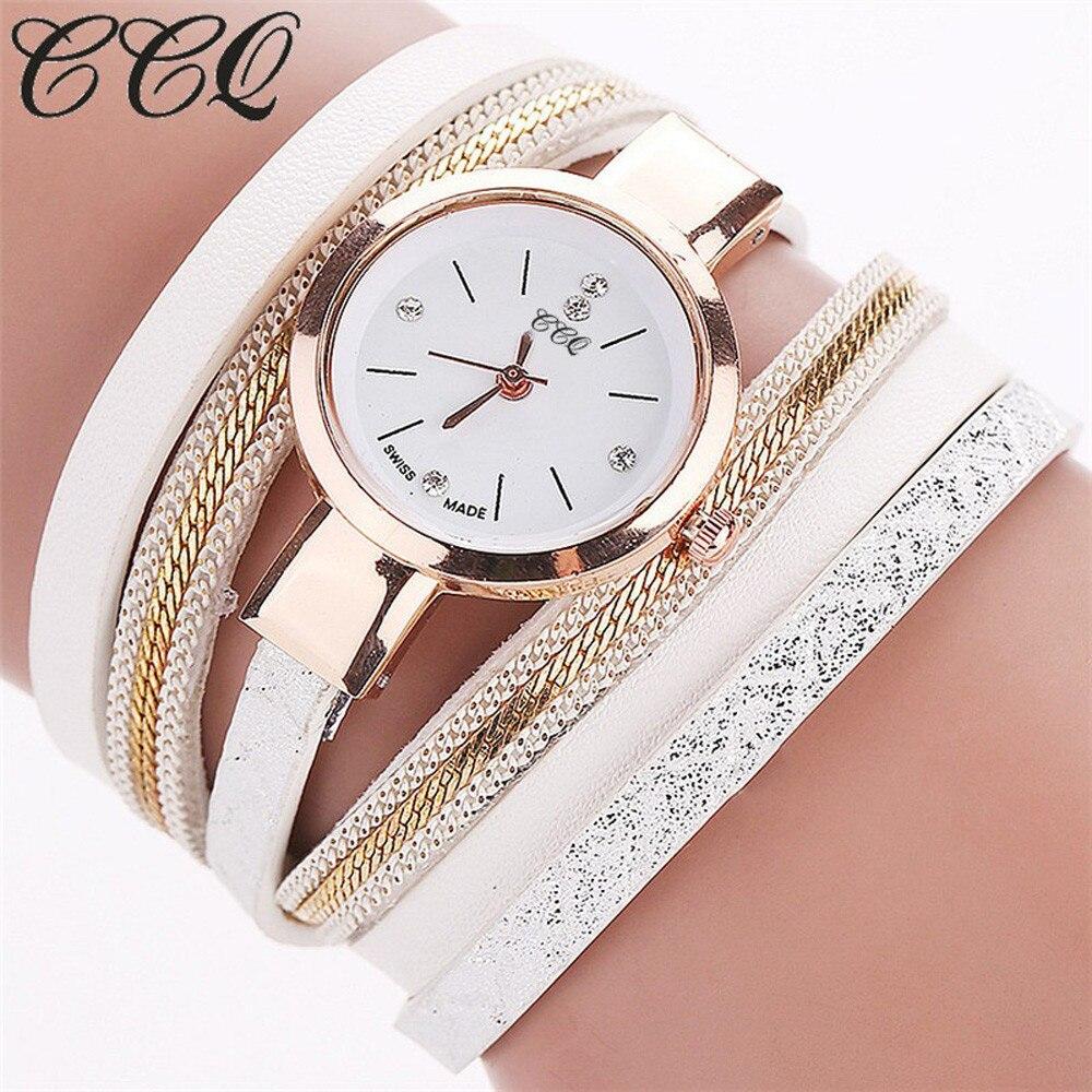 CCQ חדש אופנה עור צמיד שעונים מקרית נשים שעוני יד יוקרה מותג קוורץ שעון Relogio Feminino מתנת שעון