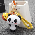 11 Colors New Silicone Cute Bell Panda Cartoon Keychain Bag Pendant Key Ring Kawaii Gift Present For Women Fashion Gifts S5381