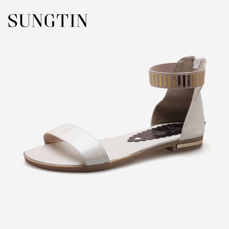 Sungtin High Quality Genuine Leather Flats Women Casual Summer Beach Sandals Girl Bing Ankle Strap Flat Sandals 2018 Party Shoes fongimic summer women flat shoes comfortable casual all match beach sandals high quality girl beach flowers elastic band sandals