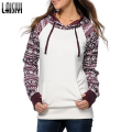 Laisiyi Winter Autumn Hoodies Sweatshirts Women Hoodies Women O-neck Pullovers Printed stitching Hooded Plus Size ASHO20002