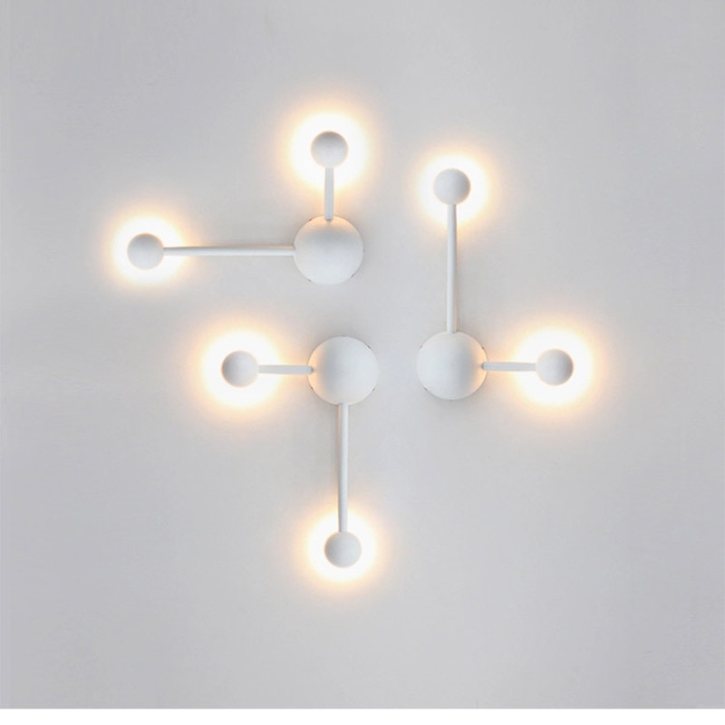 2018 New Nordic Creative Dining Room Led Wall Lamp Art White Designer Study Light Coffee Shop Bedroom Decoration Wall Lights nordic post modern denmark creative chandelier art crown bar coffee shop decoration light dining lights with led bulbs