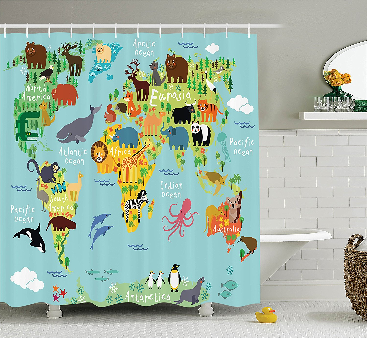 Wanderlust Shower Curtain Decor By Animal Map Of The World For Children And Kids Cartoon Mountains Forests Image In Curtains From Home Garden On