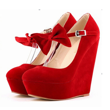 2016 Plus Size 34-42  Fashion Ladies Cute High Heels Sexy Wedges Shoe Comfort platform shoes Strappy Butterfly  Women Shoes w822