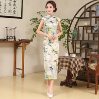 Silk Women Sexy Party Dress Women Chinese Cheongsam Long Chinese Traditional Dress Sleeveless Qipao Lady Dress 6