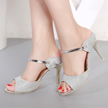 LAKESHI Summer Women Pumps Small Heels Wedding Shoes Gold Silver Stiletto  High Heels Peep Toe Women 6aa2b4afc749