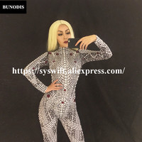 BU099 2018 Lastest Style Women Jumpsuit Full Of Pearls & Sparkling Rhinestones Bodysuit Nightsulbe Stage Wear Bling Costume