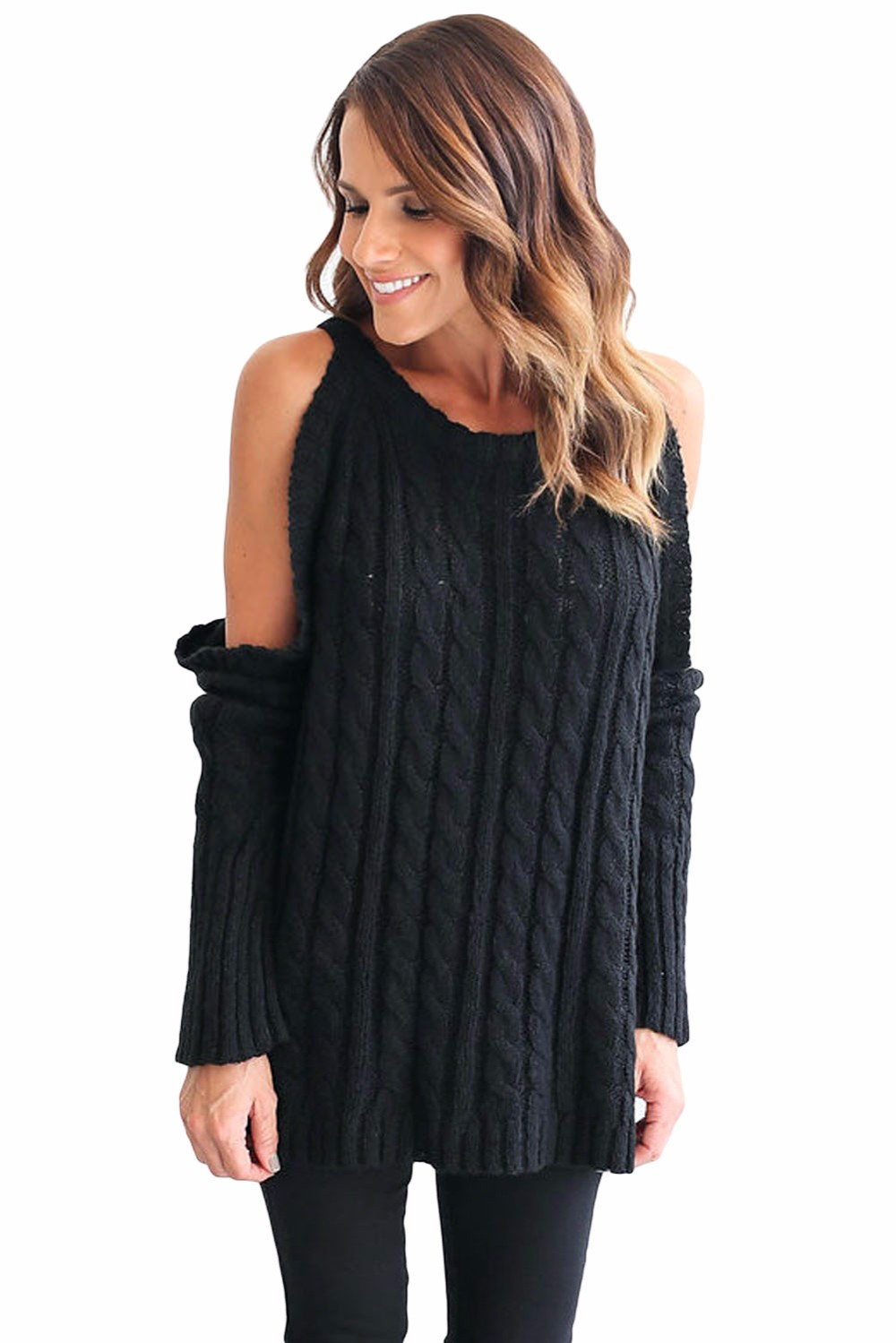 Black-Daring-Cold-Shoulder-Cable-Knit-Sweater-LC27653-2-1