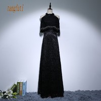 Mother Of The Bride Dresses 2017 Black Lace Dress O Neck Sexy Sleeveless Lace up Women Party Long Dress
