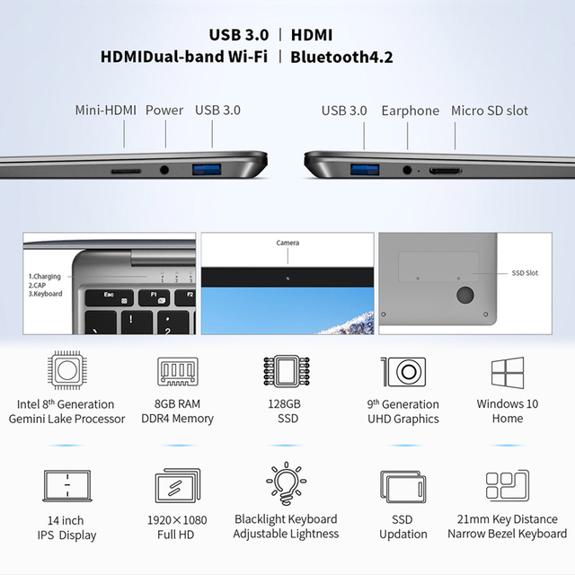Teclast laptop F7 Plus notebook 8gb RAM 128GB SSD 14inch Windows10 English Version Intel Quad Core 2.0MP Camera HDMI Bluetooth
