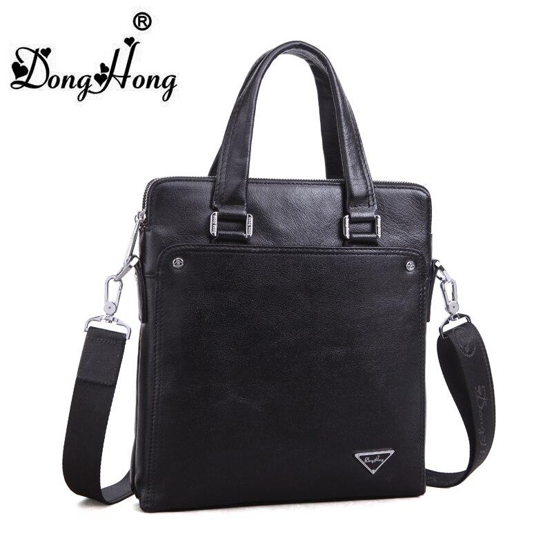 ФОТО DongHong Genuine Handbag Men's business bags leather briefcase messenger bags shoulder Laptop bag England Style men handbag