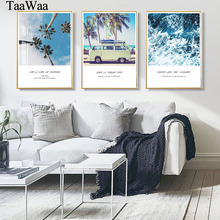 TAAWAA Scandinavian Nordic Style Coconut Tree Seascape Poster Quote Wall Art Canvas Painting  Car Decorative Picture Home Decor