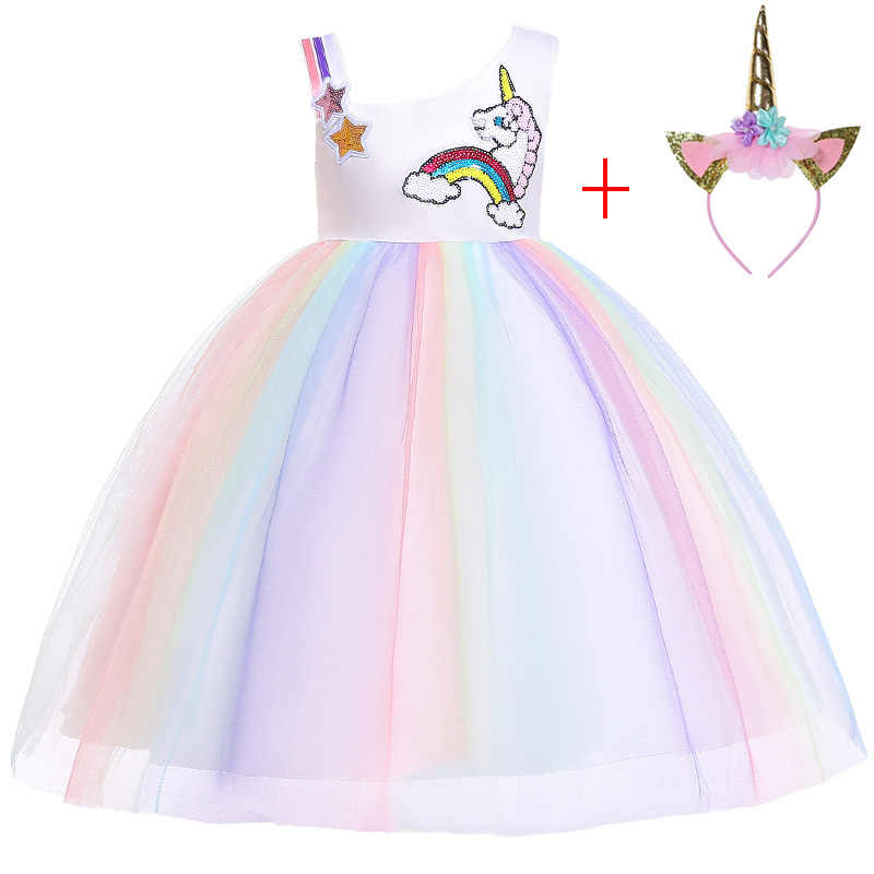 d5f0f37dd957 Kids Unicorn Tutu Dress Pastel Rainbow Princess Dresses Girls Party Gown  Children Cosplay Costume Vestido De