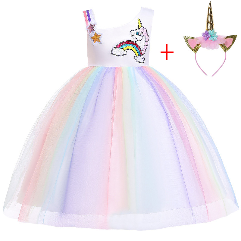 dc5bc3d88f Kids Unicorn Tutu Dress Pastel Rainbow Princess Dresses Girls Party Gown  Children Cosplay Costume Vestido De Festa Infantil