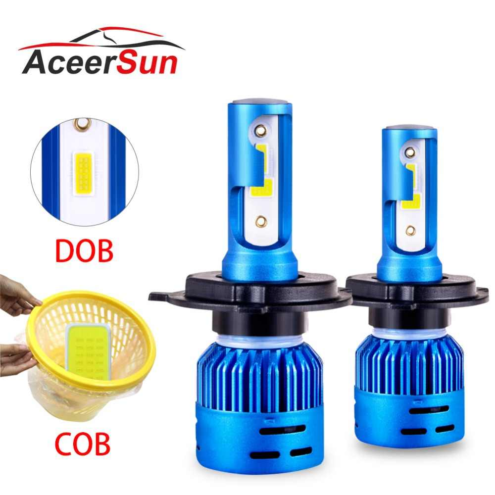 Aceersun LED 4300K Car Headlight H7 6500K LED H4 DOB COB H1 H11 H8 9005 9006 HB3 HB4 72W 8000LM 12V 24V Auto Headlamp Hi Lo beam