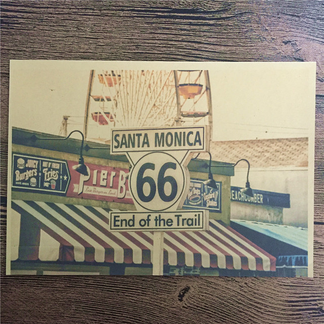New Arrival RMCB 055 Vintage Home Decor Poster SANTA MONICA Painting For Wall
