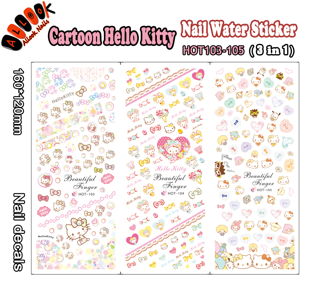 For Nail(Large Piece HOT103-105 3 DESIGNS IN 1)Cartoon Hello Kitty Nail Art Wrap Water Sticker for Nail Art Decoration nail art large piece yb529 540 12 designs in 1 cartoon pet hello kitty nail art water transfer sticker decal for nail