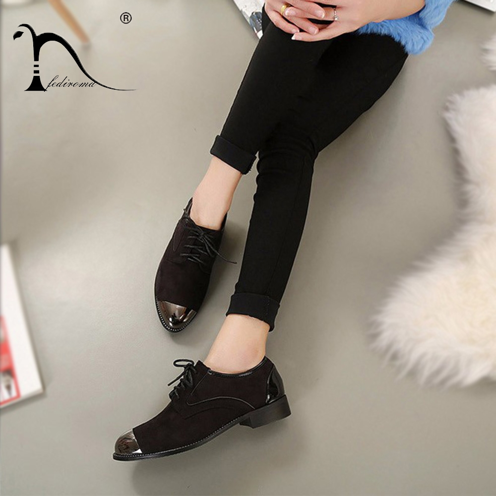 Brand Oxford shoes for women Autumn Womens Low Heel Oxfords Shoes Suede Leather Flats Zapato Lace-up Flat shoes Glitter Shoes