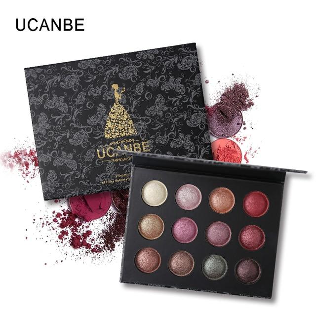 UCANBE Brand Shining Baked Eyeshadow Palette Waterproof Pigment Makeup  Glitter Metal Color Eye Shadow Nude Smoky Cosmetics d951533ba81c