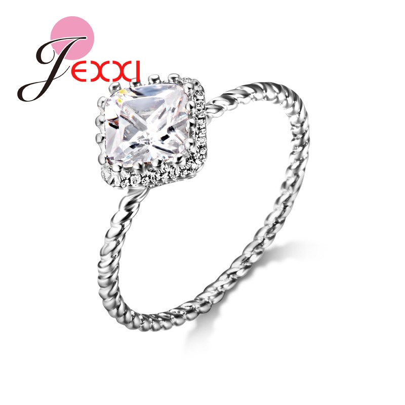 JEXXI Square Princess Cut 925 Sterling Silver White Cubic Zircon Wedding Engagement Rings For Women Fashion Elegant Band Jewelry